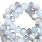 Facetkraal rondel luchtblauw opaal 6x4mm