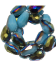 Facetkraal druppel 8x11mm glans blauw