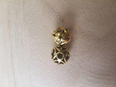 Metalen kraal tibetaans goud 12mm
