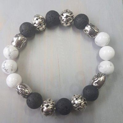 Natuurstenen armband wit zilver