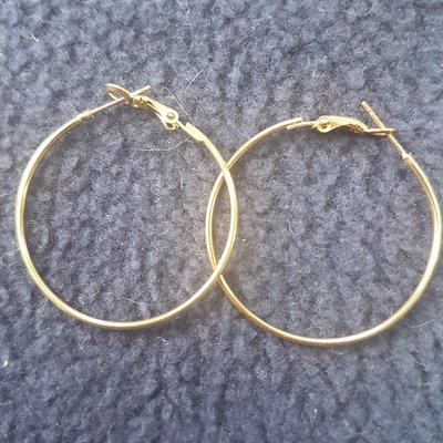 Goudplated oorringen 35mm