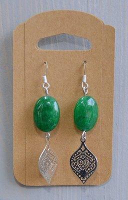Oorhangers zilver groene agaat natuursteenkraal