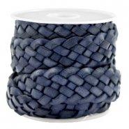 Gevlochten leer plat 20mm donker blauw