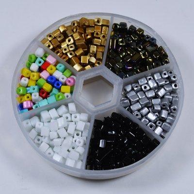 Voordeelpakket - Cube glaskralen (4 x 3 mm) 'Party Collection'
