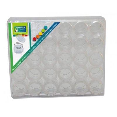 Box met  30 kleine schroefdop doosjes