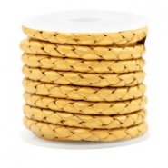 DQ Gevlochten leer golden yellow matallic 4mm