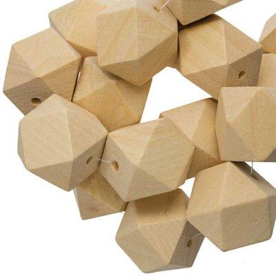Houten kubus kraal 16mm