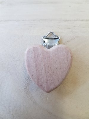 Houten hart clip voor het maken van een speenkoord