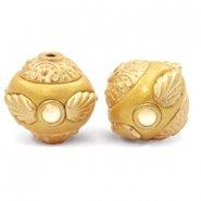 Handgemaakte Bohemian kralen 14mm geel/goud