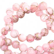 Schelpkralen rond light pink 6mm
