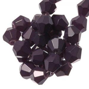 Konische glaskraal druiven paars 4mm