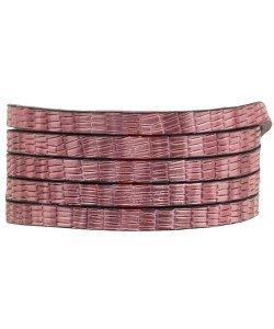 Plat koord 5mm metallic pink