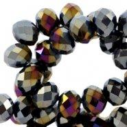 Facetkraal rondel jet black hematite/half diamond coating