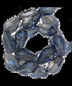 Facetkraal druppel 8x11mm transparant glans blauw