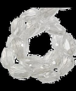 Facetkraal druppel 5x7mm transparant wit