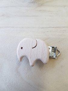 Houten olifantjes clip voor het maken van een speenkoord